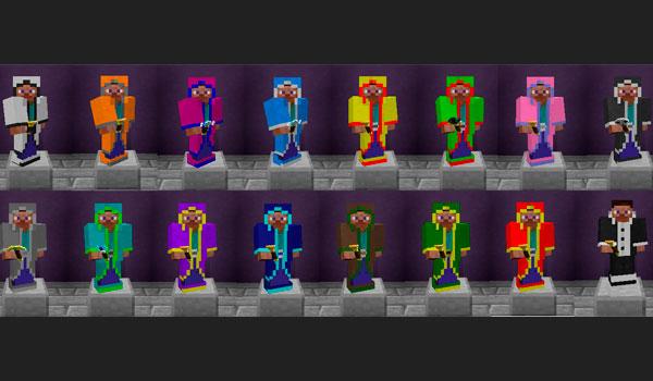 imágenes donde podemos ver el surtido completo de armaduras o trajes de mago que podremos crear con este mod.