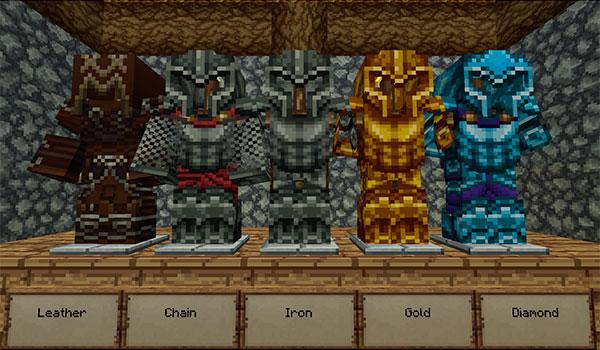 Imagen donde podemos ver el aspecto que tienen las armaduras con este pack de texturas instalado.