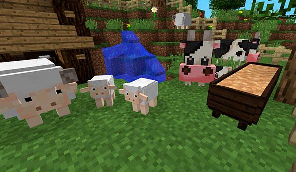 Imagen donde vemos los nuevos animales que añade el mod harvest festival 1.10.2.