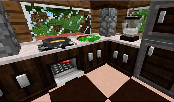 Imagen donde podemos ver una cocina decorada con los objetos que añade al juego el mod harvest festival 1.10.2.