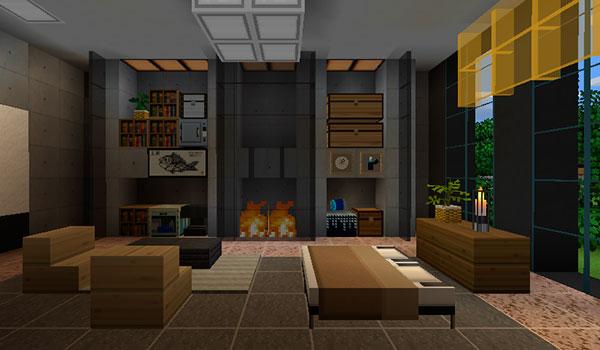 imagen donde vemos el interior de una vivienda, concretamente una habitación, decorada con las texturas playful modern 1.14, 1.13 y 1.12.