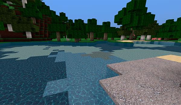 imagen de un lago de Minecraft, donde apreciamos el nivel de realismo de éste paquete de texturas.