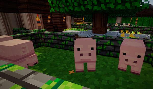 Imagen donde podemos ver el aspecto que tienen los cerdos, en Minecraft, con el paquete de texturas Ventura.