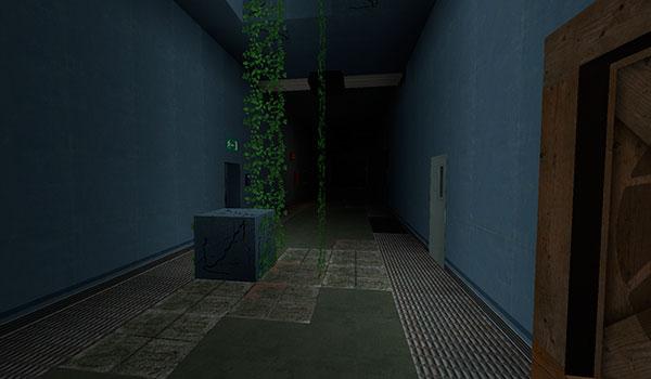 Imagen donde vemos el primer pasillo que encontraremos al salir de la primera cámara del este mapa.