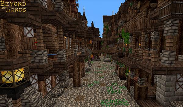 Imagen donde podemos ver una calle de estilo medieval, decorada con las texturas del paquete de texturas beyond the lands 1.15, 1.14 y 1.12.