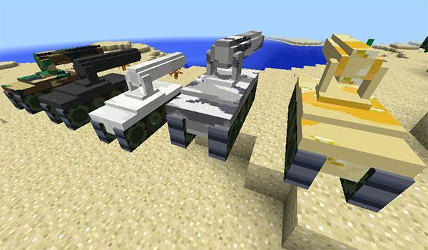 Imagen donde podemos ver los cinco camuflajes disponibles para los carros de combate del mod Customizable Artillery 1.10.2.