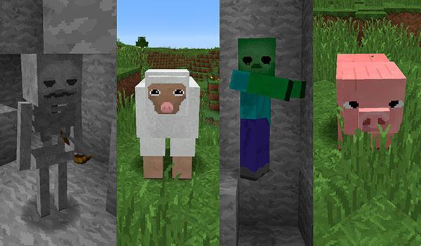 Imagen donde podemos ver el aspecto de criaturas como las ovejas, los cerdos, zombis y esqueletos, con las texturas jea traditional 1.12.