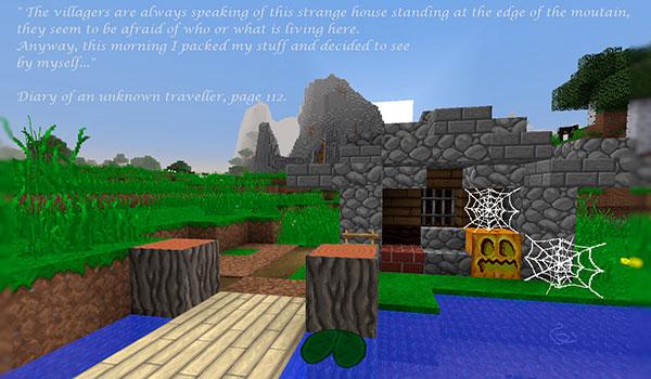 Imagen donde vemos una pequeña construcción en Minecraft, utilizando el paquete de texturas jea traditional.
