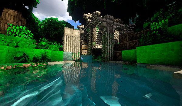 Imagen donde podemos ver una de las misteriosas ruinas que encontraremos en la selva amazónica del mapa The Forgotten Book 1.11 y 1.10.