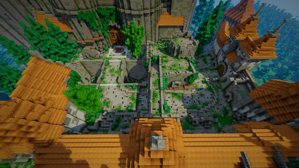 vista aérea del mapa de Overwatch recreado en Minecraft, conocido como el castillo de Eichenwalde.