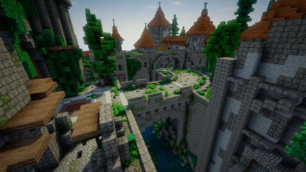 Vista lateral de una de las zonas del castillo Eichenwalde, un mapa de Overwatch que ha sido recreado en Minecraft por un jugador.