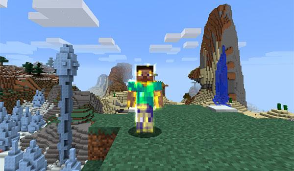 Imagen donde podemos ver a un jugador rodeado por un aura dorada, gracias a los hechizos y magias que se pueden utilizar con este mod.