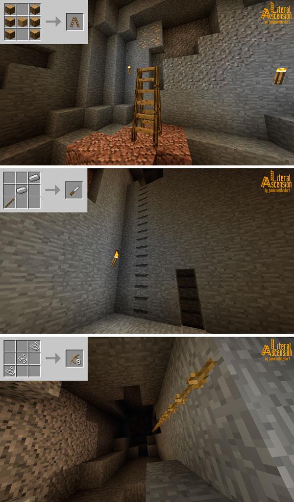 Imagen compuesta por tres imágenes que muestran los tres tipos de escaleras que podremos utilizar con este mod instalado.