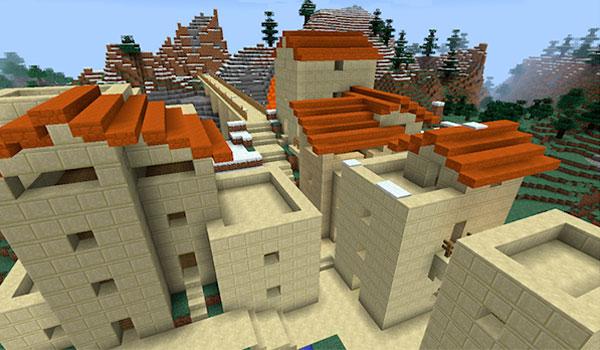 Imagen de ejemplo donde podemos ver un poblado creado gracias a las varitas de construcción que añade este mod.