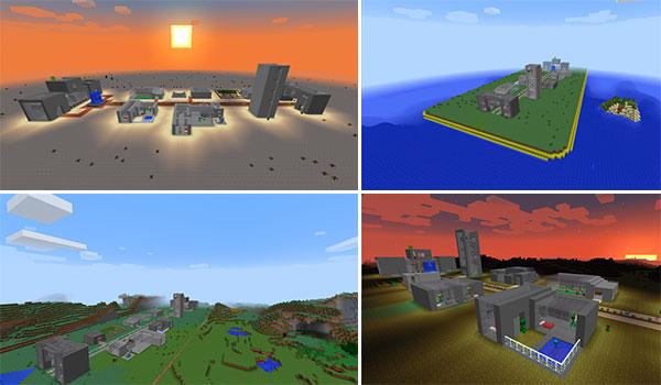 Imagen donde podemos ver un ejemplo de cuatro aldeas de Creeper en varios biomas de Minecraft.
