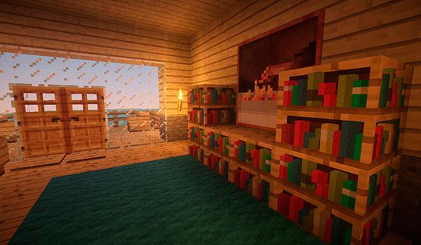 Imagen donde podemos ver el interior de una habitación, con unas librerías, utilizando este paquete de texturas.
