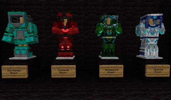 Imagen donde podemos ver algunas de las armaduras que podremos crear con el mod ebon arts 1.11.