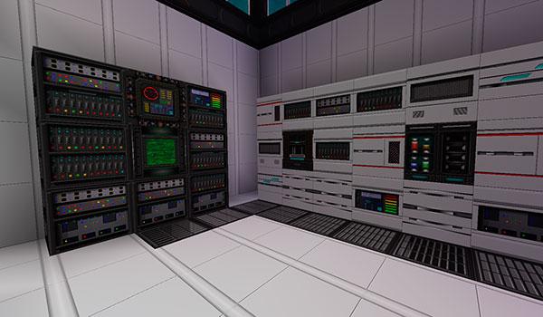 Imagen donde podemos ver una sala llena de máquinas y servidores, gracias a las texturas de norzeteus space 1.12 y 1.11.