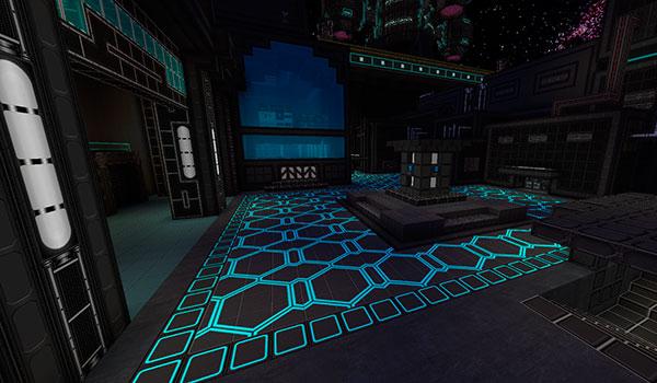 Imagen donde podemos ver el interior de una sala futurista utilizando las texturas del pack norzeteus space 1.11 y 1.10.
