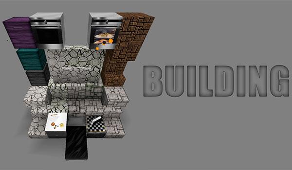 Imagen donde podemos ver algunos ejemplos de bloques de construcción, utilizando las nuevas texturas de este paquete de texturas.