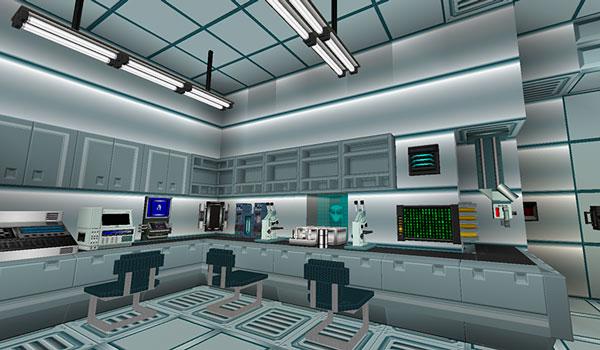 Imagen donde vemos la recreación de un laboratorio de aspecto futurista, utilizando los bloques, objetos y máquinas que añade space extended 1.11.