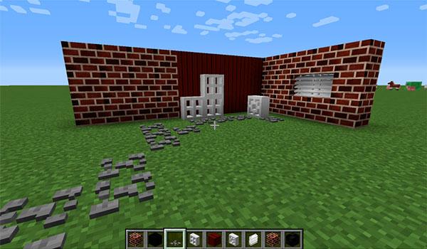 Imagen donde podemos ver algunos ejemplos de los bloques decorativos que añade este mod.