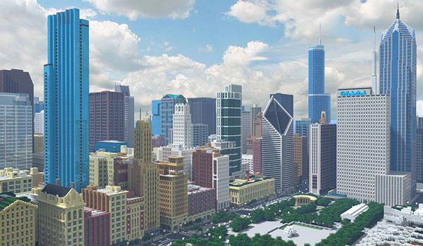 Crean un modelo de Chicago increíblemente detallado, en Minecraft