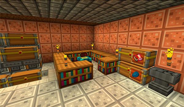 Imagen donde vemos el interior de una casa, decorada con las texturas de radiant pixels 1.12 y 1.11.