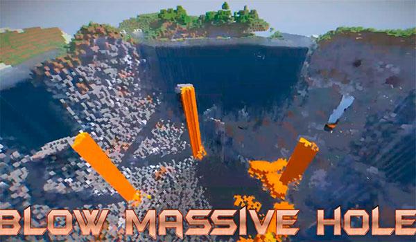 Imagen donde podemos ver el enorme cráter que pueden producir algunas de las nuevas bombas de TNT que añade este mod.