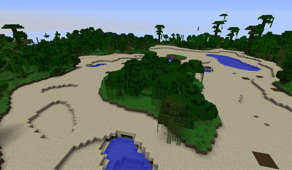 Imagen donde vemos un oasis, creado gracias a la generación de terreno de este mod.