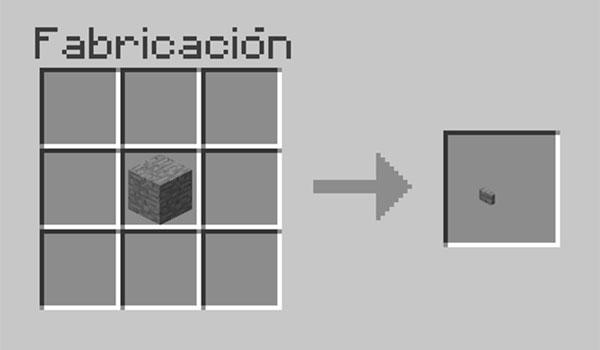 Imagen donde podemos ver la forma correcta de fabricar un botón en Minecraft.