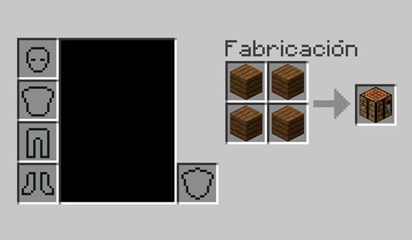 Imagen donde podemos ver la forma de fabricar una mesa de crafteo en Minecraft.