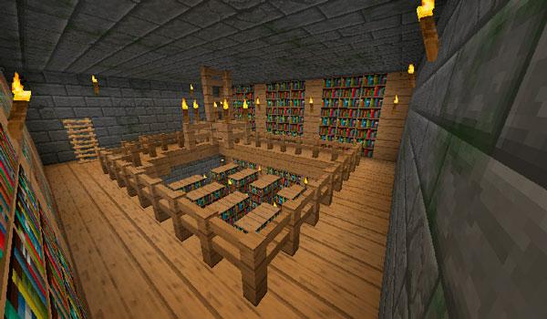Imagen donde vemos una biblioteca recreada en Minecraft, utilizando el paquete de texturas durzocraft 1.11.