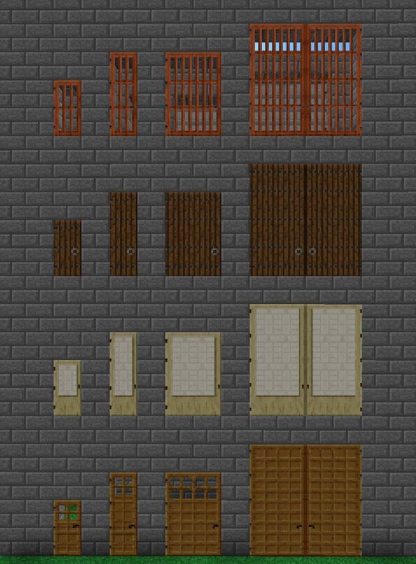 Imagen donde podemos ver los diversos tipos de puerta, más grandes que las normales, que podremos crear con el mod Roxa's Tall Doors 1.11.