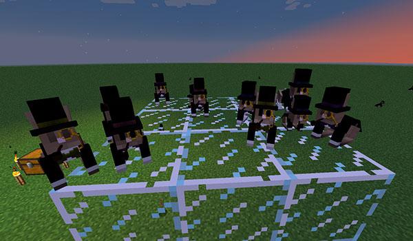 Imagen donde vemos a un numeroso grupo de conejos, vestidos con esmoquin, pipa, sombrero y monóculo.