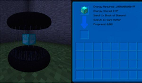 Imagen donde podemos ver el agujero negro que podremos crear con este mod, para almacenar energía y líquidos.