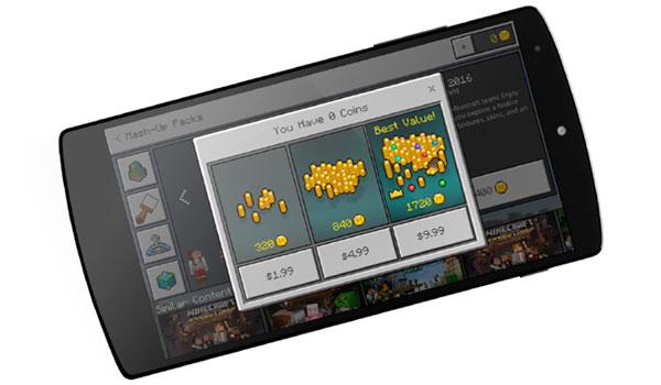 Imagen donde vemos como funcionarán las Minecraft Coins del Marketplace de Minecraft Windows 10 Edition y Pocket Edition.