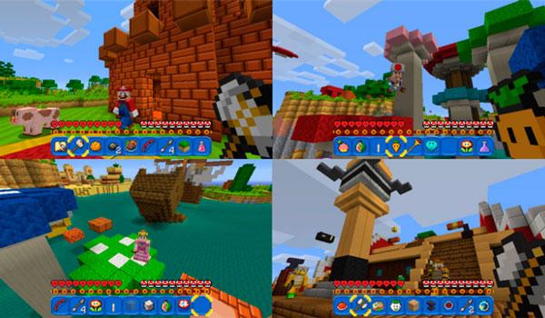 Imagen donde podemos ver el aspecto de Minecraft en la consola Nintendo Switch, con el pack de recursos Super Mario Mash-Up.