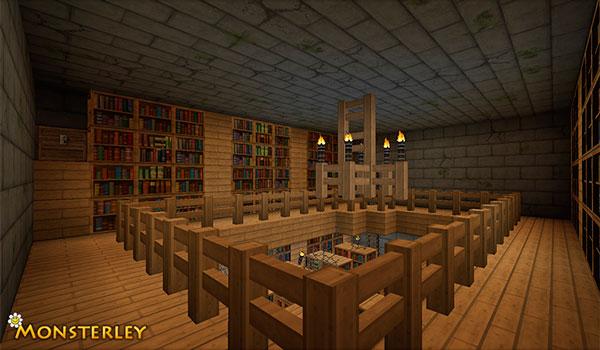 Imagen donde podemos ver el aspecto de una biblioteca, utilizando las texturas Monsterley Texture Pack 1.12 y 1.11.
