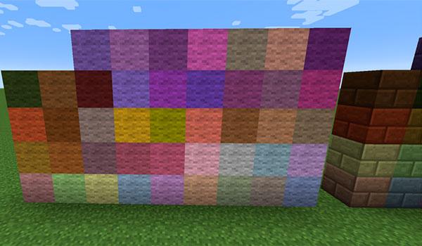 Ejemplo donde podemos ver bloques de lana y de ladrillos tintados de nuevos colores, gracias a los nuevos tintes que añade este mod.