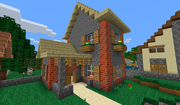 Imagen donde podemos ver el aspecto de una casa de piedra, con bloques de ladrillos, utilizando el textura pack cubix 1.13 y 1.12.