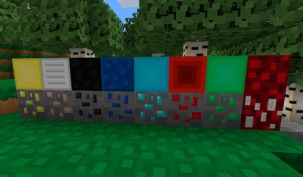 Imagen donde podemos ver el aspecto de los bloques de recursos minerales, con este paquete de texturas instalado.
