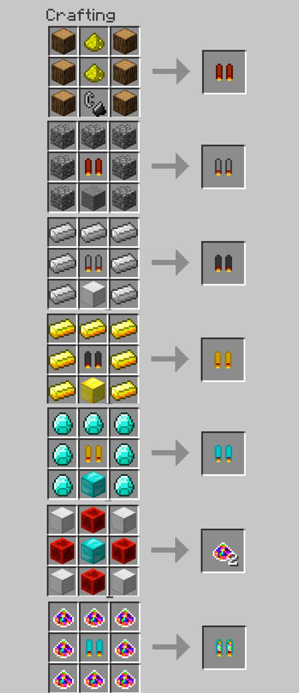 Imagen donde podemos ver el proceso de fabricación de cada uno de los jetpacks disponibles en este mod.