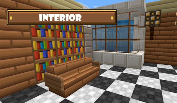 Imagen donde podemos ver el aspecto del interior de una vivienda en Minecraft, utilizando Mad Pixels Texture Pack 1.11.