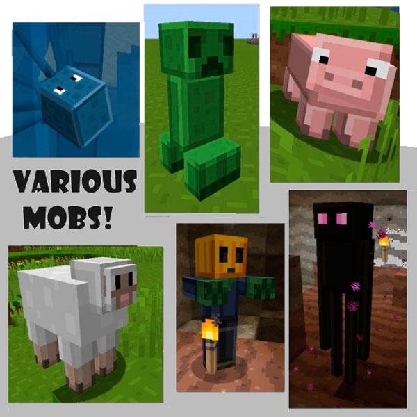 Imagen donde podemos ver el aspecto de las criaturas de Minecraft, utilizando el pack de texturas mad pixels 1.11.