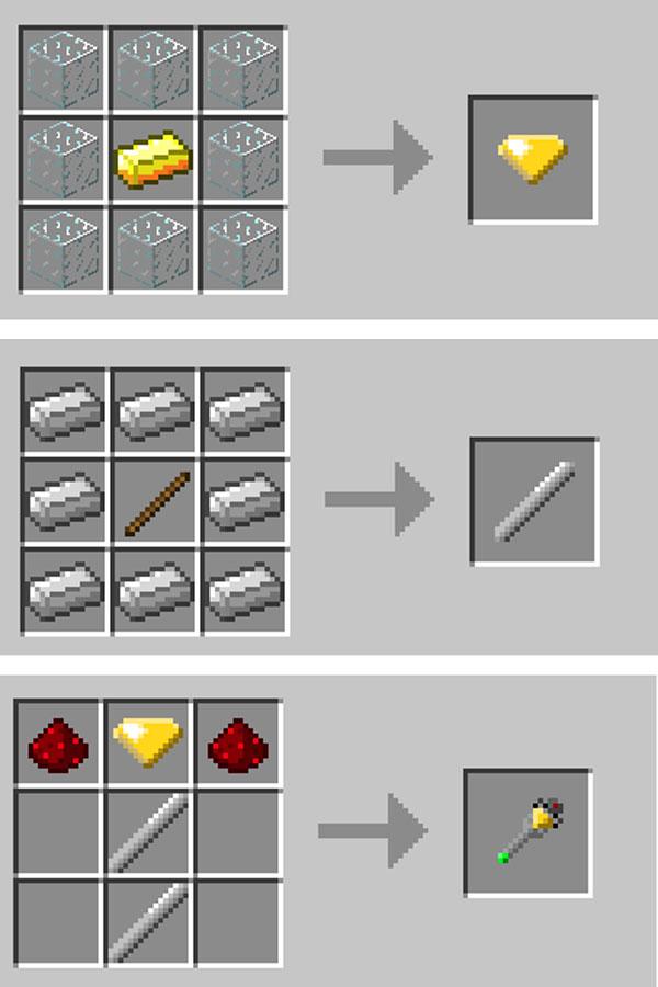 Imagen donde podemos ver el proceso de fabricación de la varita mágica que añade el mod spider wand 1.11.2.