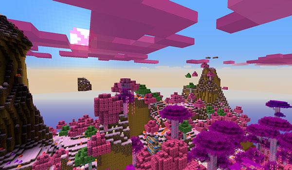 Imagen de ejemplo donde podemos ver un paisaje de montaña, utilizando las texturas CandyCraft 1.12 y 1.11.