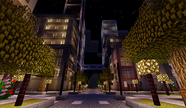 Imagen donde vemos un ejemplo de una ciudad utilizando el mod Dooglamoo Cities 1.12 y 1.12.1.