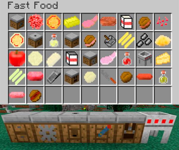 Imagen donde vemos algunas de las máquinas con las que podremos crear las recetas del mod Fast Food 1.12, 1.12.1 y 1.12.2.