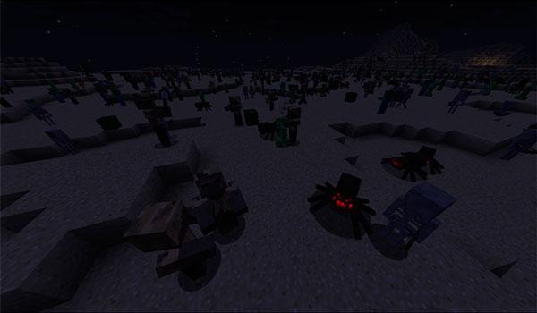 Ejemplo donde podemos ver el importante aumento de criaturas que genera el mod Increase Mobs 1.12, 1.12.1 y 1.12.2.